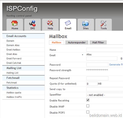 Membuat email akun di kontrol panelISPConfig