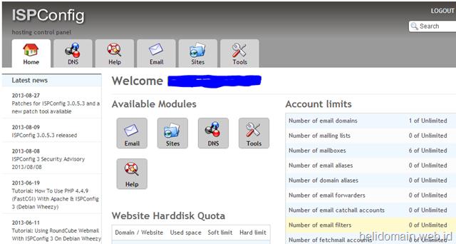 Membuat email akun di kontrol panel ISPConfig